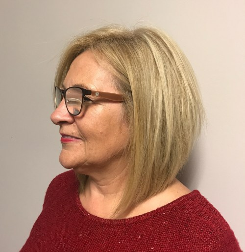 Blonde Lob For 50-Year-Old Women With Glasses