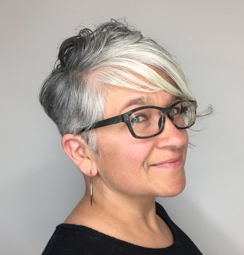 Feathered Side Bangs With Asymmetrical Pixie