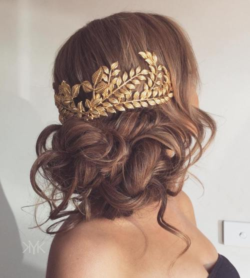 Volume And Curls Decorated Updo