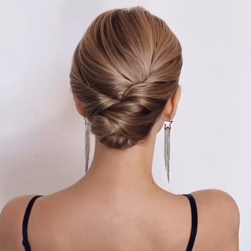 Chic Low Bun Hairstyle for Short Straight Hair