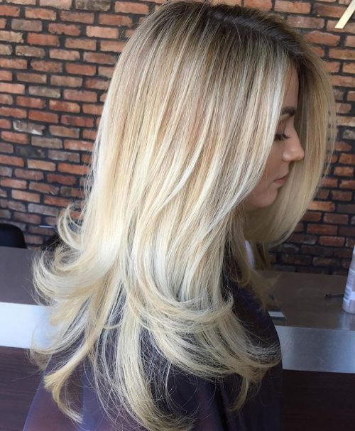 Long Blonde Balayage Hairstyle with Layered Ends
