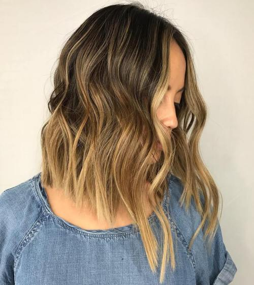 Honey Brown Balayage Lob