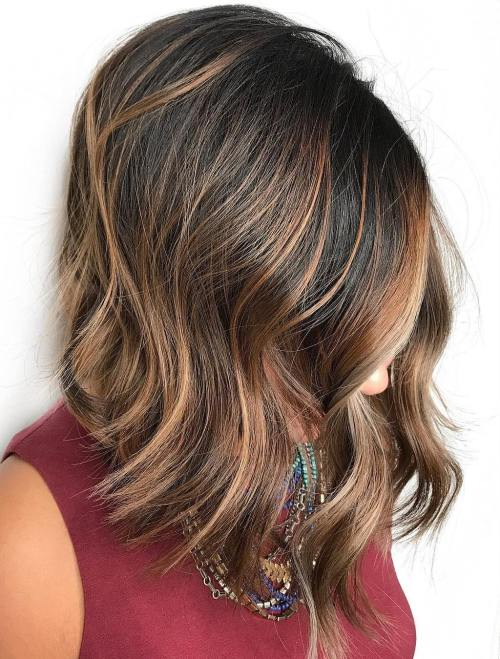Black Choppy Lob with Caramel Highlights