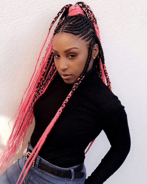Fulani Braids with Bright Pink Yarn Extensions