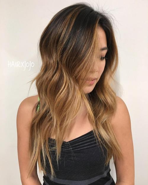 Dark Hair with Bronze and Caramel Highlights
