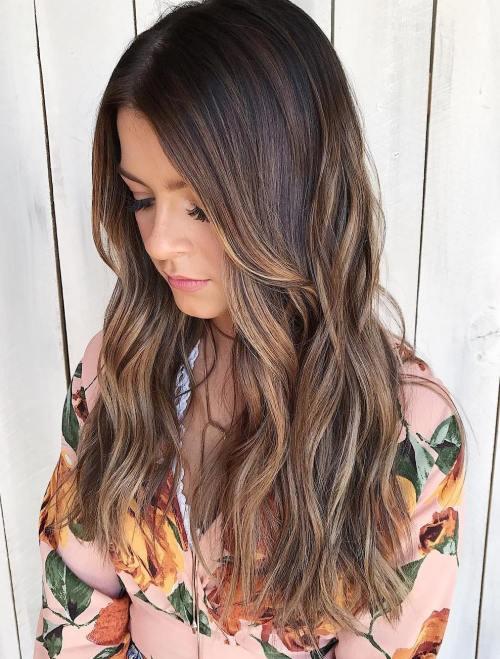 Light Brown Balayage For Dark Brown Hair