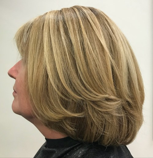 Dark Blonde Two-Layer Bob for Thick Hair