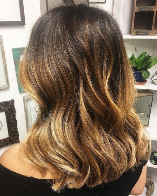 Golden Blonde Balayage with Brown Roots
