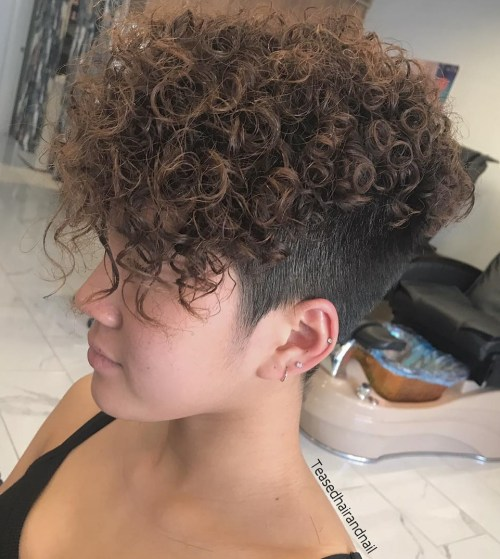 Permed Long Top Short Sides Hairstyle