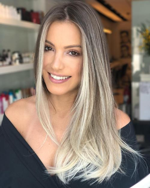 Long Ash Bronde Balayage Hair