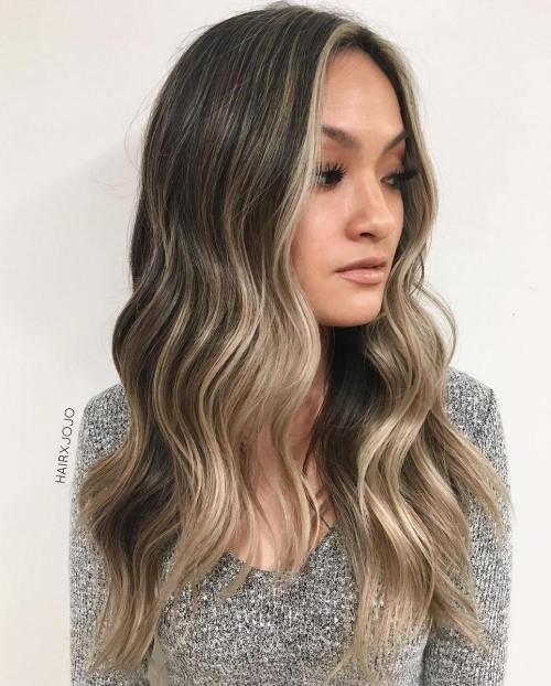 Subtle Ash Blonde Balayage for Brown Hair