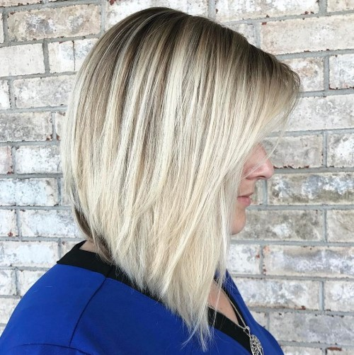 Angled Blonde Balayage Lob