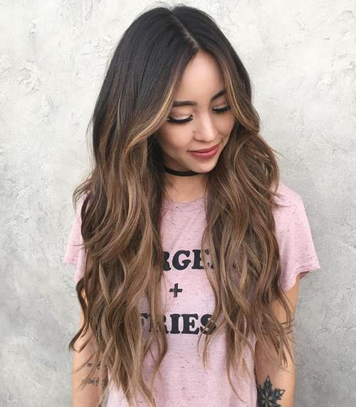 Long Brunette Hair with Caramel Balayage