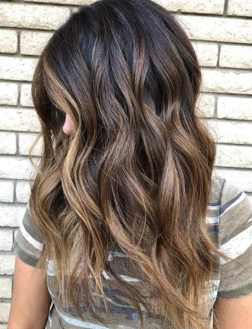 Golden Brown Balayage for Long Hair
