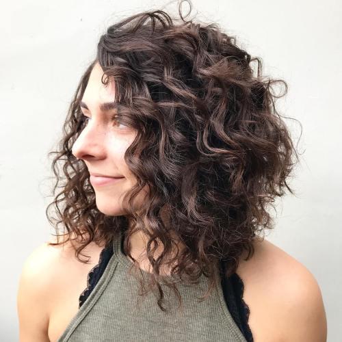 Brown Curly Angled Lob