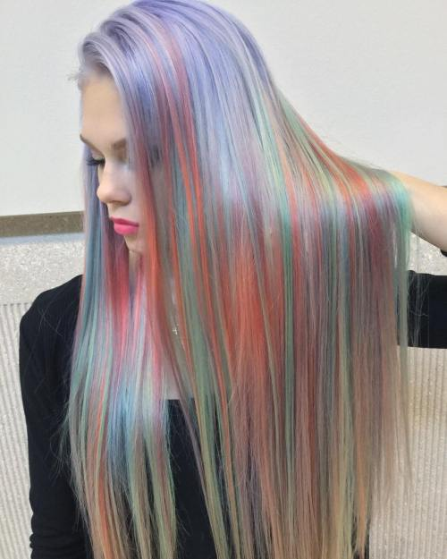 Sleek Long Holographic Hair