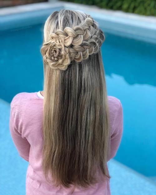 Half Up Hairstyle with Braided Flower