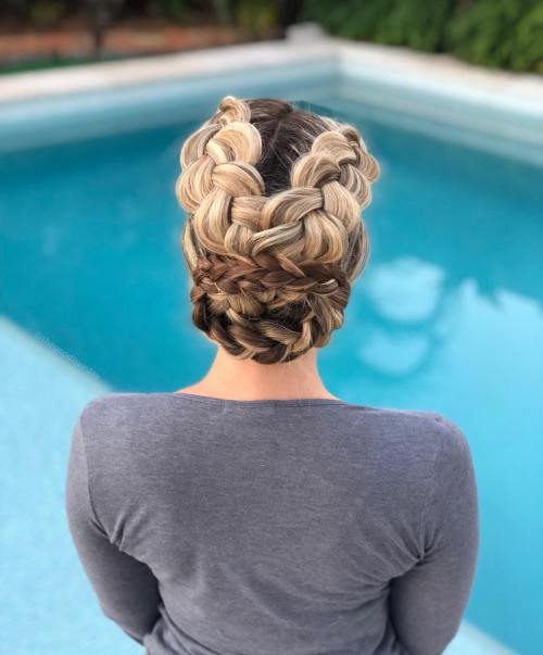 Party Updo with Criss Cross Braids