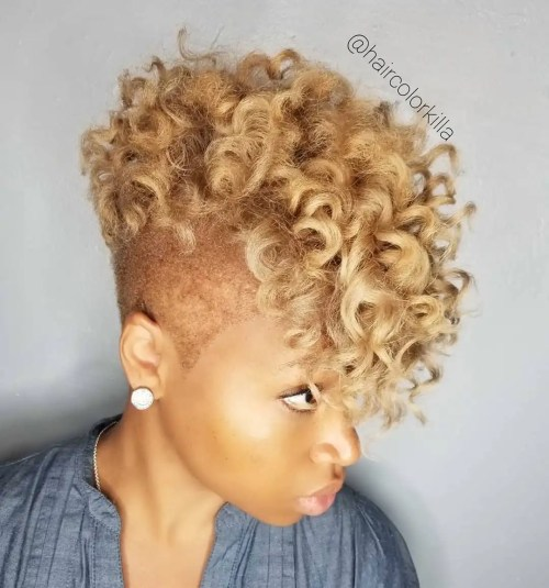 Curly Blonde Mohawk with Shaved Sides