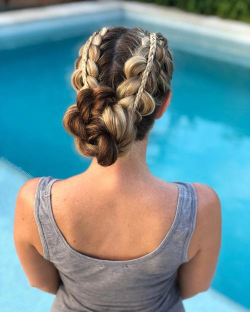 Double Stacked Braid into a Bun