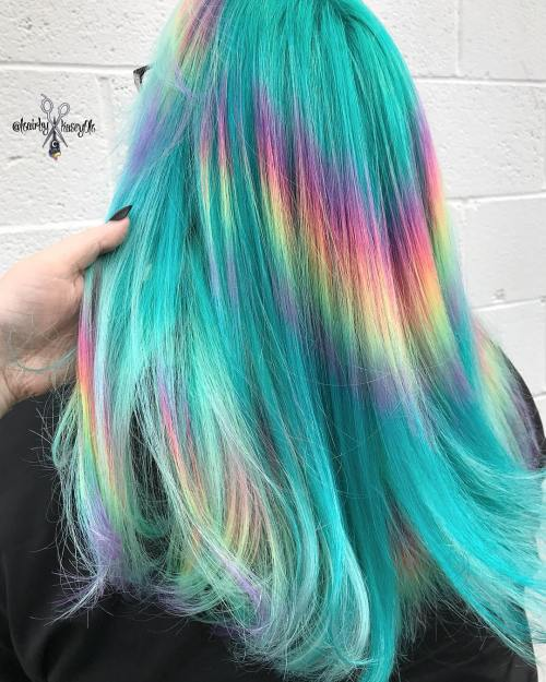 Teal Hair with Tie Dye