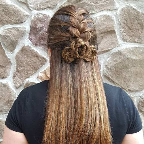 French Mermaid Braid with a Bouquet of Flowers