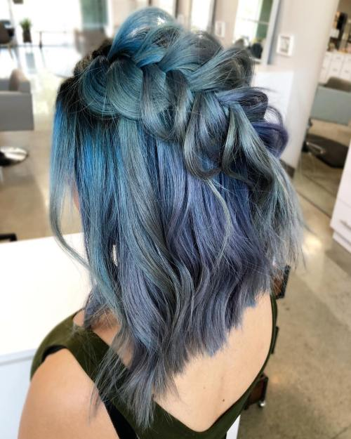 Metallic Blue Diagonal Dutch Braid