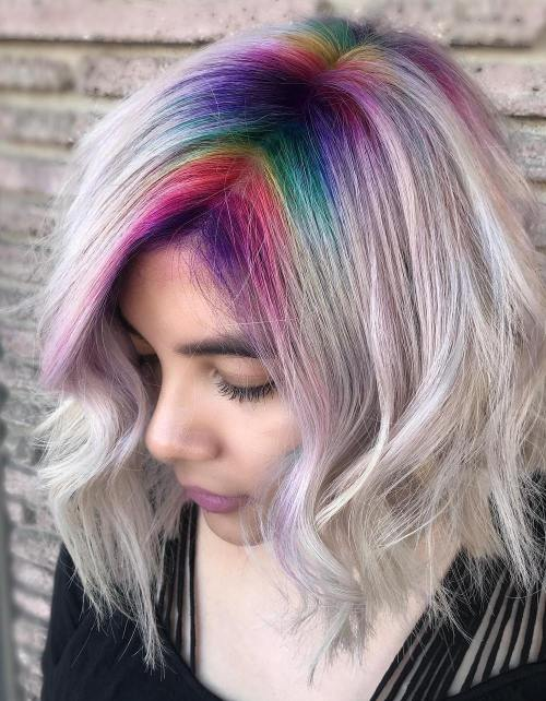 Rainbow Roots for Pearl Blonde Lob