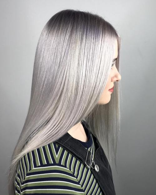 Straight Metallic Silver Hair