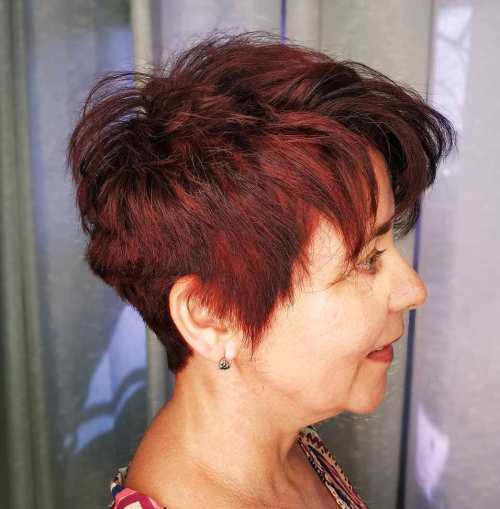 Tapered Brunette Pixie with Red Highlights