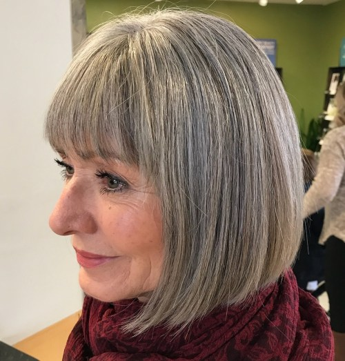 50+ Ash Blonde and Silver Balayage Bob
