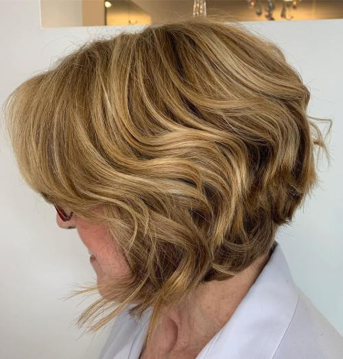 Wavy Inverted Bob Haircut For Women Over 60