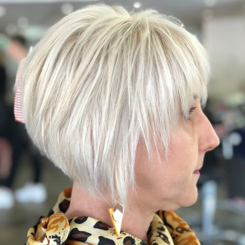 Short Razored Platinum Bob over 50