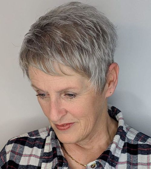 Short Pixie For Gray Hair