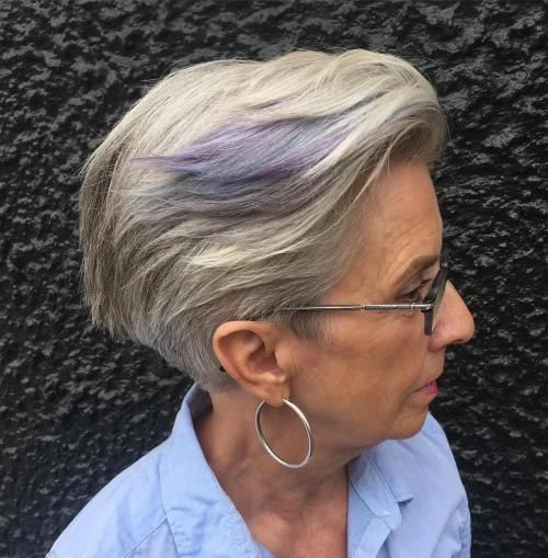 Tapered Gray Pixie for Older Women