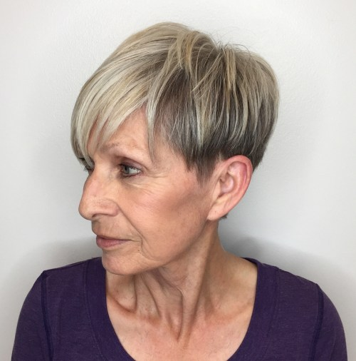 60+ Ash Blonde Undercut Pixie