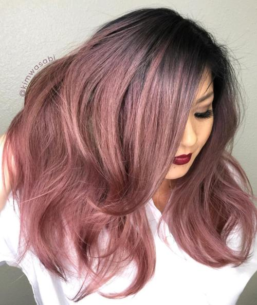 Metallic Rose-Gold Hair