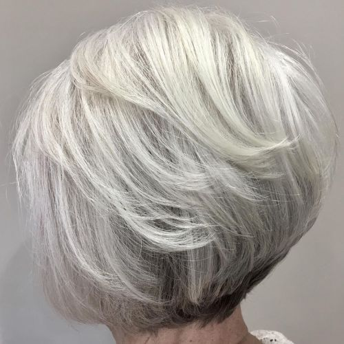 Short Inverted Bob For Gray Hair