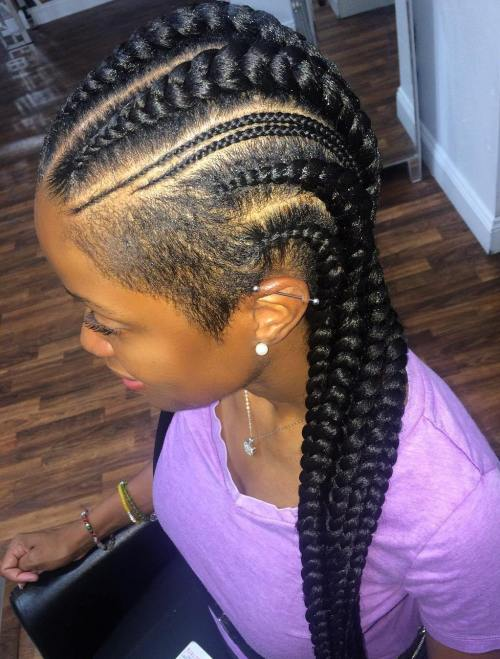 Black Braids with Shaved Temples