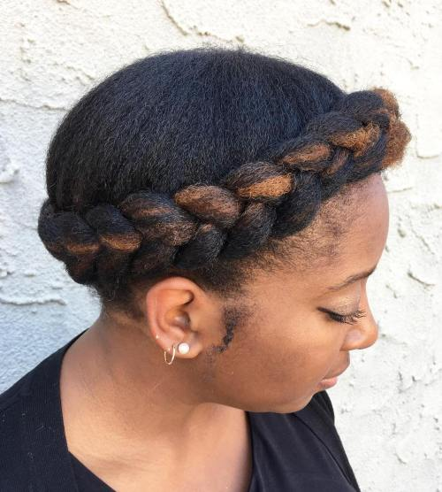 Natural Halo Braid Updo