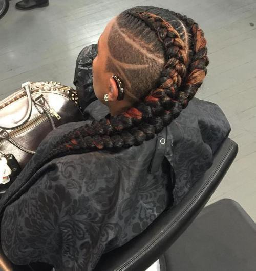 Two Chunky Braids with Shaved Sides