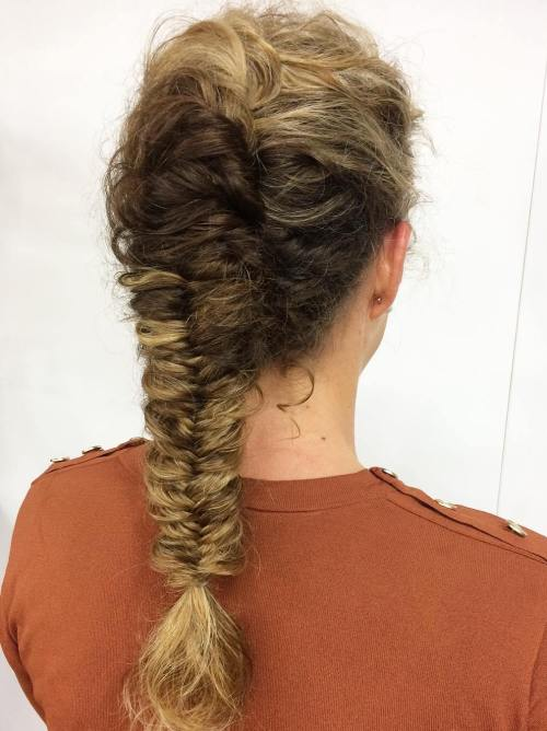 Wavy French Twist with Fishtail Hairstyle