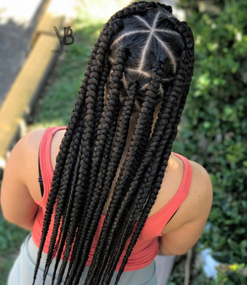 Box Braids With Triangle Crown Parting