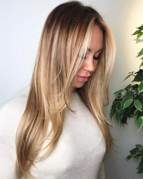 Bronde Balayage Hair with Dark Roots