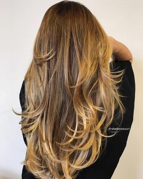 Long Hair with Honey Blonde Ombre Balayage