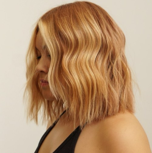 Dark Honey Blonde Hairstyle with Face Framing Pieces