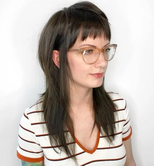 Long Straight Shag With Baby Bangs