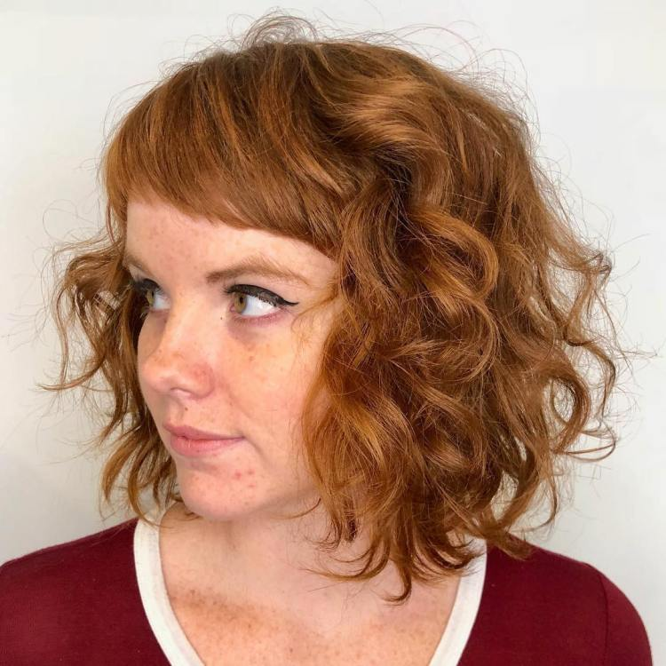 Wavy Copper Red Bob With Baby Bangs