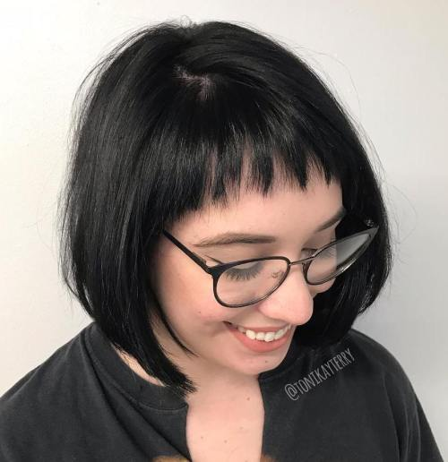 Black Bob With Short Rounded Bangs
