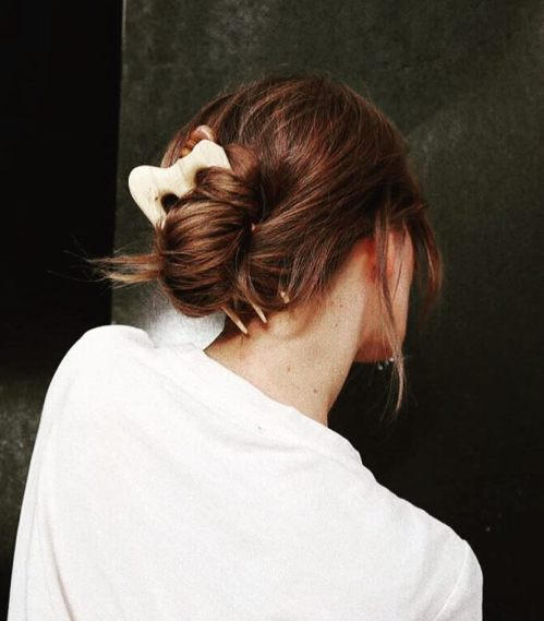 Low Knotted Bun With Wooden Hair Stick